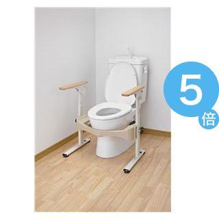 ★ポイントUp5倍★アロン化成 トイレ用手すり 洋式トイレフレームSはねあげR-2(1)木製ヒジ掛ケ 533-087[21]