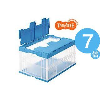 ★ポイントUp7倍★(まとめ)TANOSEE 折りたたみコンテナ(フタ一体型) 75L 透明ブルー 9個[21]