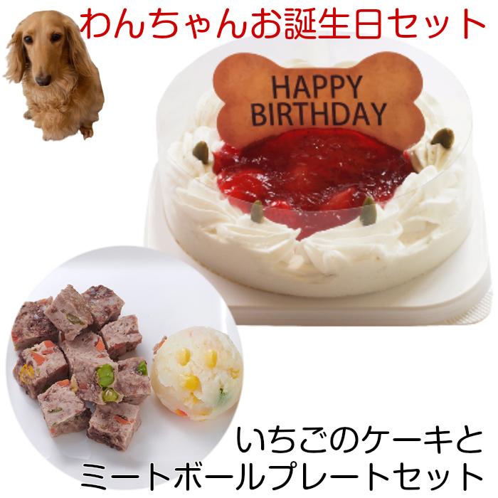 わんちゃんお誕生日ディナーセット 犬用 誕生日 予約 ケーキ ケーキセット いちごケーキとミートボールプレートセット コミフ ペットケーキ 送料無料 ※一部地域除く 返品送料無料