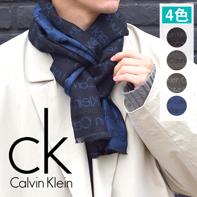 Calvin Klein カルバンクライン メンズ レディース ロゴストライプ マフラーブラック チャコール シルバー ネイビー スカーフ FREE ONE SIZE ck おしゃれ ブランド 大きいサイズ 【あす楽】[hkc7-3660]