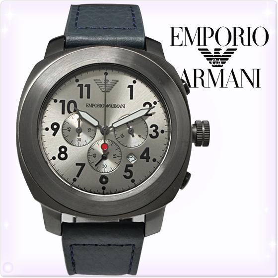 【新品】エンポリオアルマーニ 時計 [EMPORIO ARMANI]エンポリオアルマーニ メンズ 腕時計 クロノグラフ ガンメタルブラック×ブルーグレー [AR6086][エンポリ うでどけい ウォッチ 時計][送料無料]ブランド