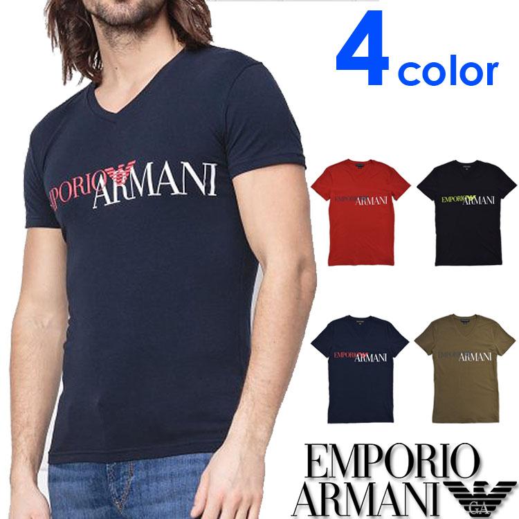 EMPORIO ARMANI エンポリオアルマーニ メンズ Vネック スリムフィット ロゴ 半袖 Tシャツ イーグルマーク ブラック ネイビー レッド カーキ S M L XL おしゃれ ブランド 大きいサイズ [あす楽][1108109p516]