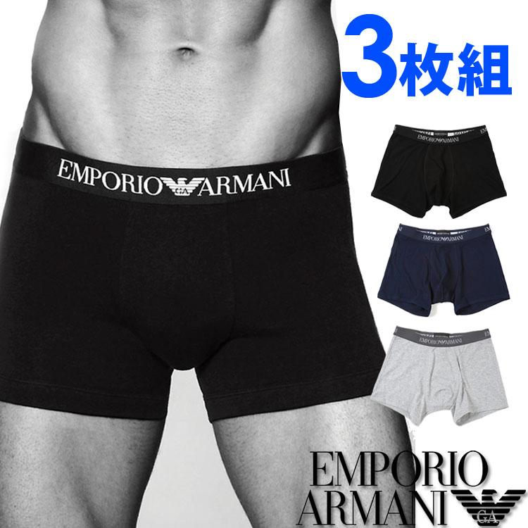 EMPORIO ARMANI エンポリオアルマーニ メンズ 3パック ピュアコットン ボクサーパンツ 紺、グレー、黒[トランクス 下着 肌着 パンツ アルマーニアンダーウェア ボクサーパンツ アルマーニ 下着][111611-CC722]大きいサイズ[送料無料]ブランド