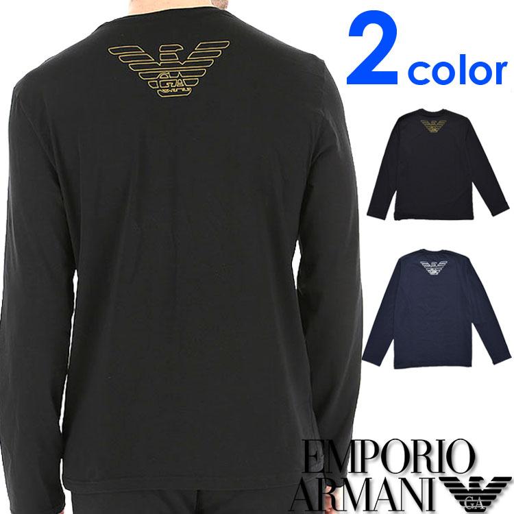 EMPORIO ARMANI エンポリオアルマーニ メンズ クルーネック レギュラーフィット 長袖Tシャツ ブラック ネイビー イーグルマーク ロンt S M L XL おしゃれ ブランド 大きいサイズ [あす楽][1116539a595]