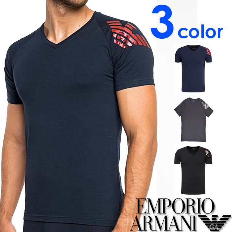 EMPORIO ARMANI エンポリオアルマーニ メンズ Vネック スリムフィット ロゴ プリント 半袖 Tシャツ イーグルマーク ブラック ネイビー グレー S M L XL おしゃれ ブランド 大きいサイズ [あす楽][1117609a725]
