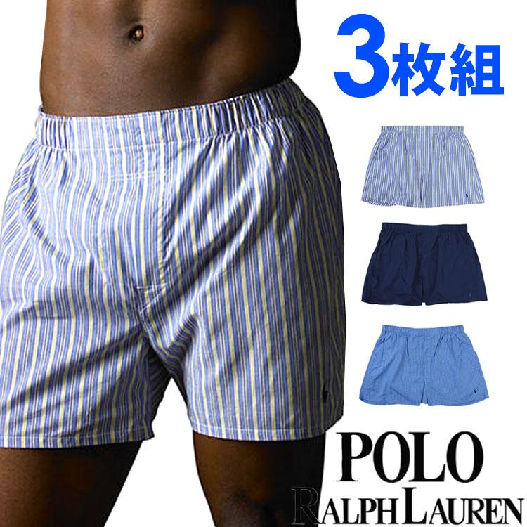 POLO RALPH LAUREN ポロ ラルフローレン トランクス ボクサーパンツ メンズ クラシックフィット ウーブン ボクサーズ トランクス 青アソート 3枚セット[紺 ブルー][S/M/L/XL][ポロ・ラルフローレン ブリーフ][5,400円以上で送料無料]大きいサイズ ブランド[P299]