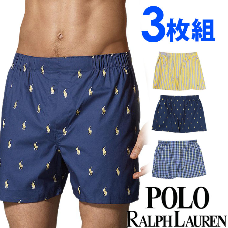 POLO RALPH LAUREN ポロ ラルフローレン トランクス ボクサーパンツ メンズ クラシックフィット 総柄3枚セット[紺 青 黄色][S/M/L/XL][ポロ・ラルフローレン][5,400円以上で送料無料]大きいサイズ ブランド[P299]