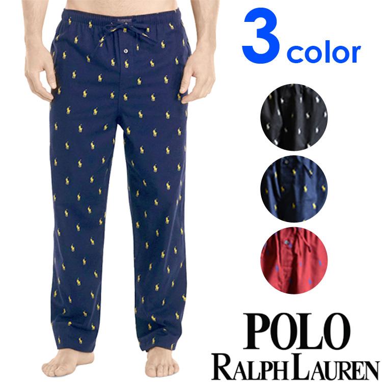 POLO RALPH LAUREN ポロ ラルフローレン メンズ ポロプレイヤー コットン フランネル リラックスパンツ 3色展開[紺 黒 赤][S/M/L/XL][ポロ・ラルフローレン ラルフローレンパンツ パジャマ 部屋着 ルームウェア][送料無料][P006HR]大きいサイズ ブランド
