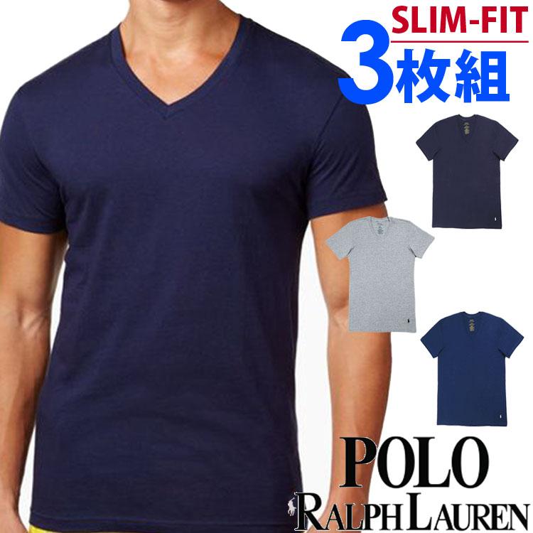POLO RALPH LAUREN ポロ ラルフローレン メンズ スリムフィット コットン Vネック 半袖 Tシャツ 3枚セット ネイビー オーシャンブルー グレー polo ロゴ S M L XL おしゃれ ブランド 大きいサイズ【あす楽】[RSVNP3/LSVN/p646u2o]