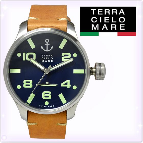 【新品】TCM テッラ チエロ マーレ シレ 時計 [Terra Cielo Mare]メンズ 腕時計 SCIRE レザー[TC7064AC3PA]ディープブルー/キャメルレザー[うでどけい ウォッチ 時計 ミリタリーウォッチ アナログ][送料無料]ブランド