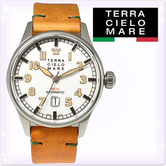 【新品】TCM テッラ チエロ マーレ メンズ 腕時計 アヴィアトーレ マーク2(AVIATORE Mark II) 白/キャメルメンズ 腕時計 [TC7103AC2PA] レザー腕時計[うでどけい ウォッチ 時計 アナログ]ブランド