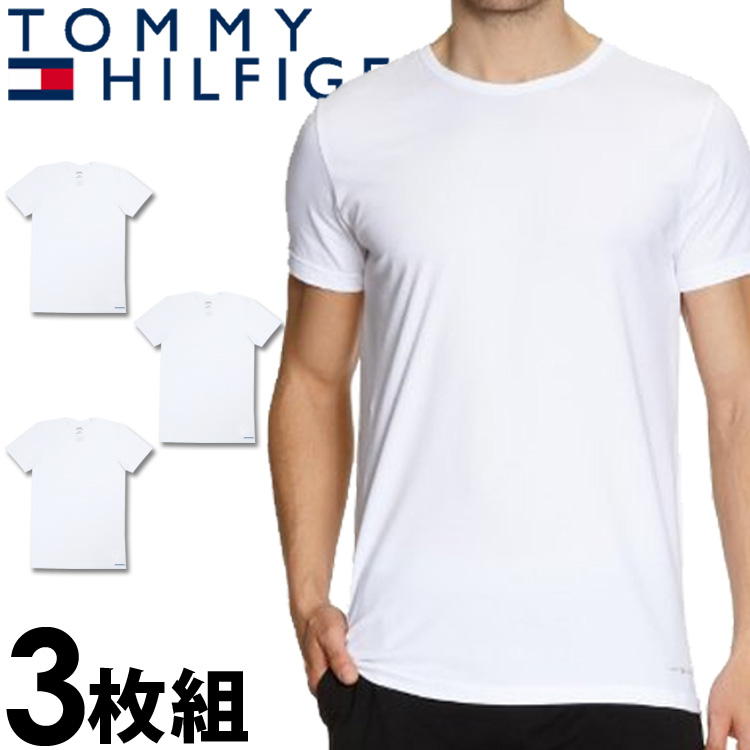 TOMMY HILFIGER Tommy Hilfiger men s 3 Pack stretch crew neck T shirt White  3 set  tops underwear underwear lingerie inner white tee-shirt 8296bcbaf