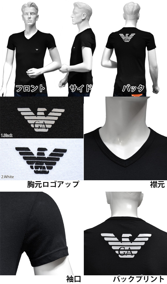 cf131d95398 An EMPORIO ARMANI Emporio Armani t shirt V neck Eagle printed stretch cotton  short sleeve T shirt mens 2 colors brand  Black White