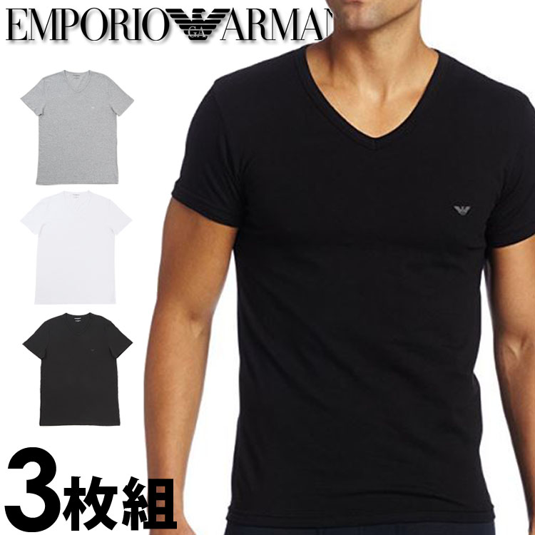 best sale good selling new high EMPORIO ARMANI Emporio Armani men t shirt three pieces pack [white gray  black] V neck T-shirt pure cotton [t shirt black gray white underwear ...