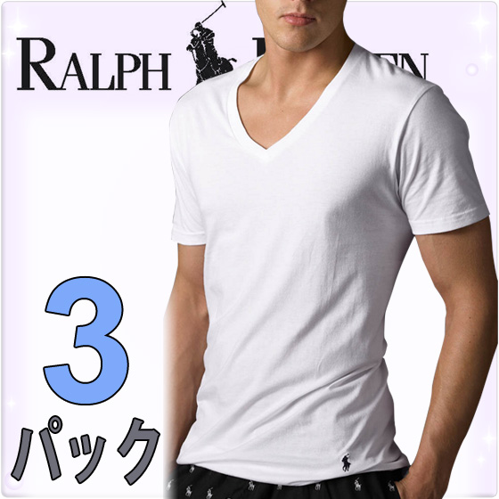 POLORALPHLAURENポロラルフローレンメンズクラシックコットンVネック半袖Tシャツ3枚セット[