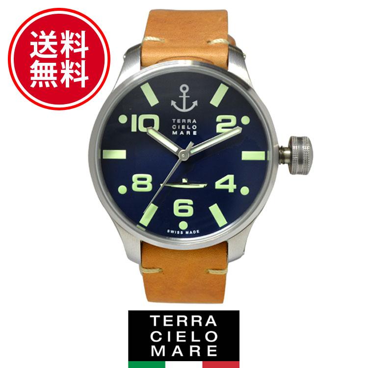 【新品】TCM テッラ チエロ マーレ シレ 時計 [Terra Cielo Mare]メンズ 腕時計 SCIRE レザー[TC7064AC3PA]ディープブルー/キャメルレザー[うでどけい ウォッチ 時計 ミリタリーウォッチ アナログ][5,500円以上で送料無料]ブランド
