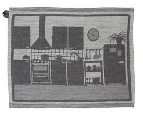 Northern Finland Suomi / Noir black linen kitchen cloth linen towel 02P07Nov15
