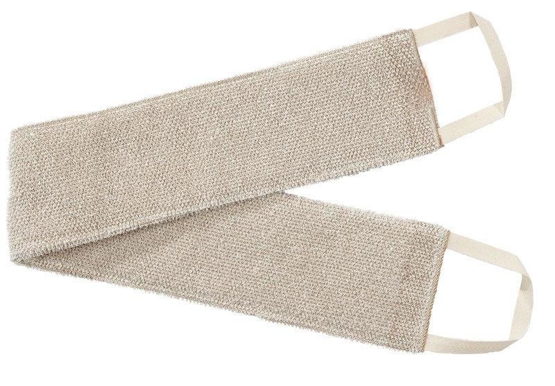 北欧 麻 リネン キュア 背中洗い用 タオル /リッチバニラ