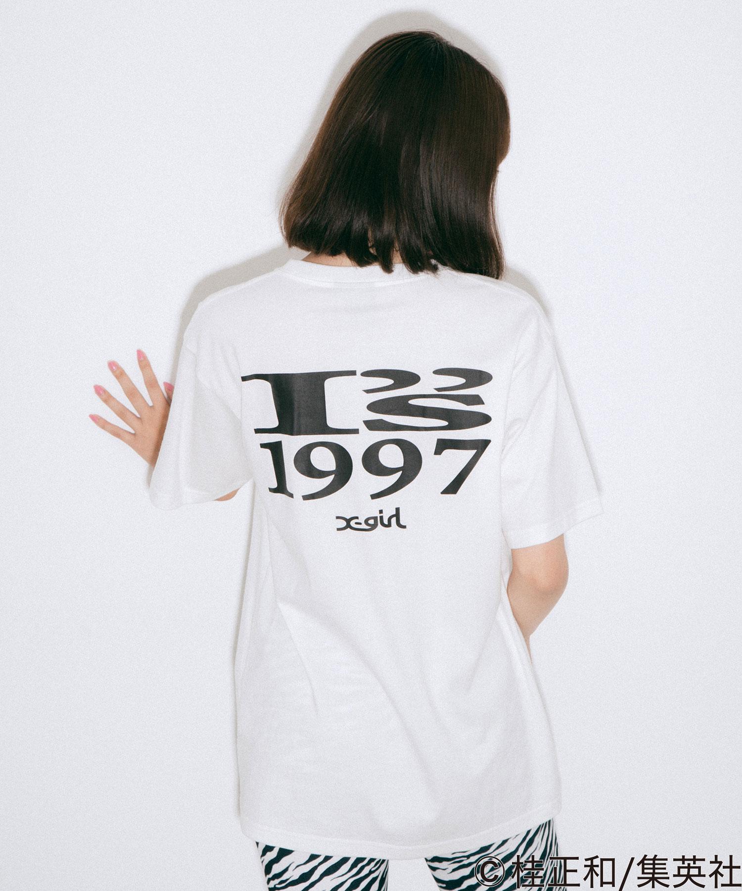"""【公式】X-girlエックスガールX-girl×KATSURAMASAKAZUI""""sIORIGRAVURES/STEETシャツトップスプリントロゴショートスリーブコラボ"""