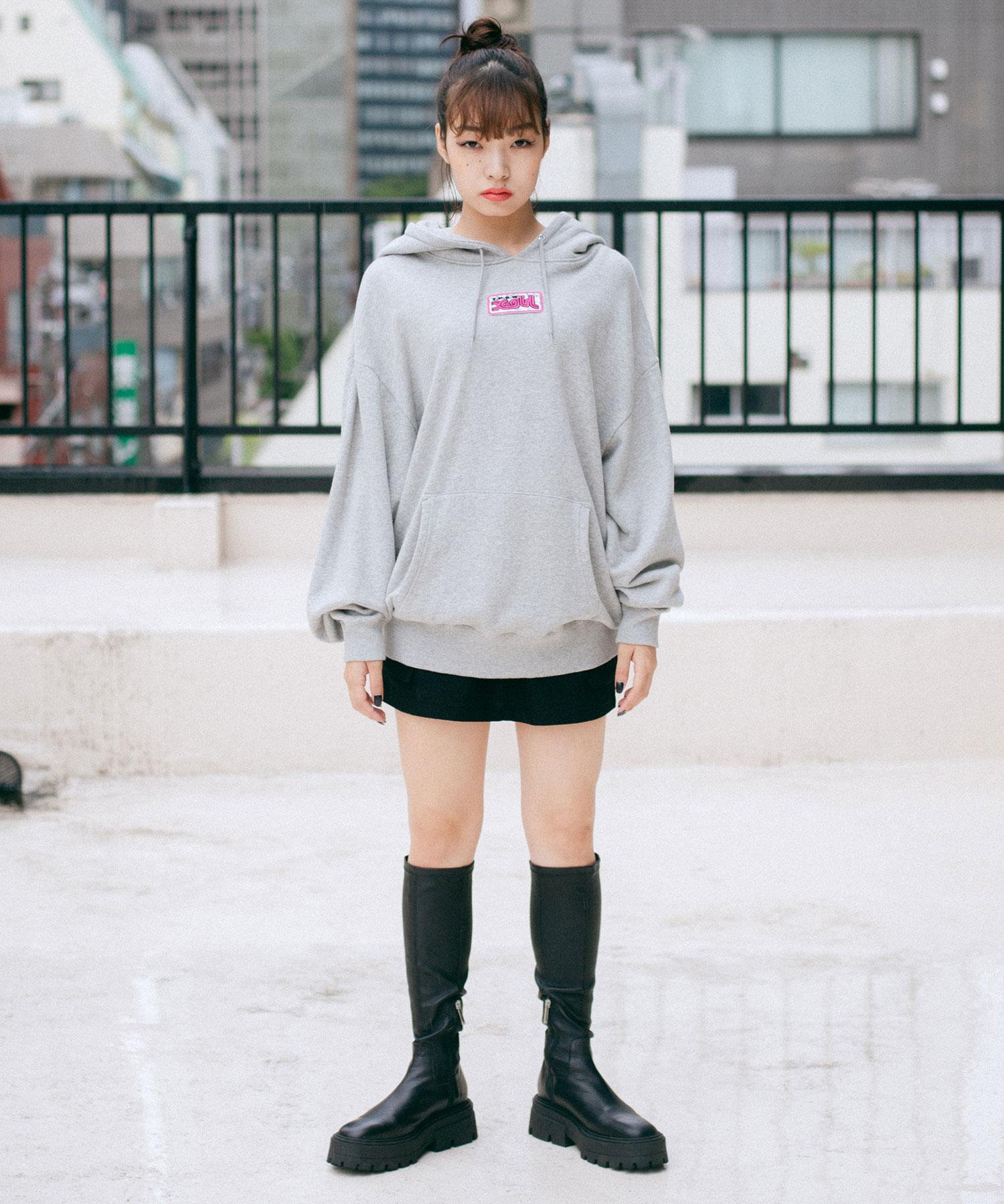 【公式】X-girlエックスガールPRISMPATCHSWEATHOODIEパーカースウェットフードフーディトップスプルオーバーレディース