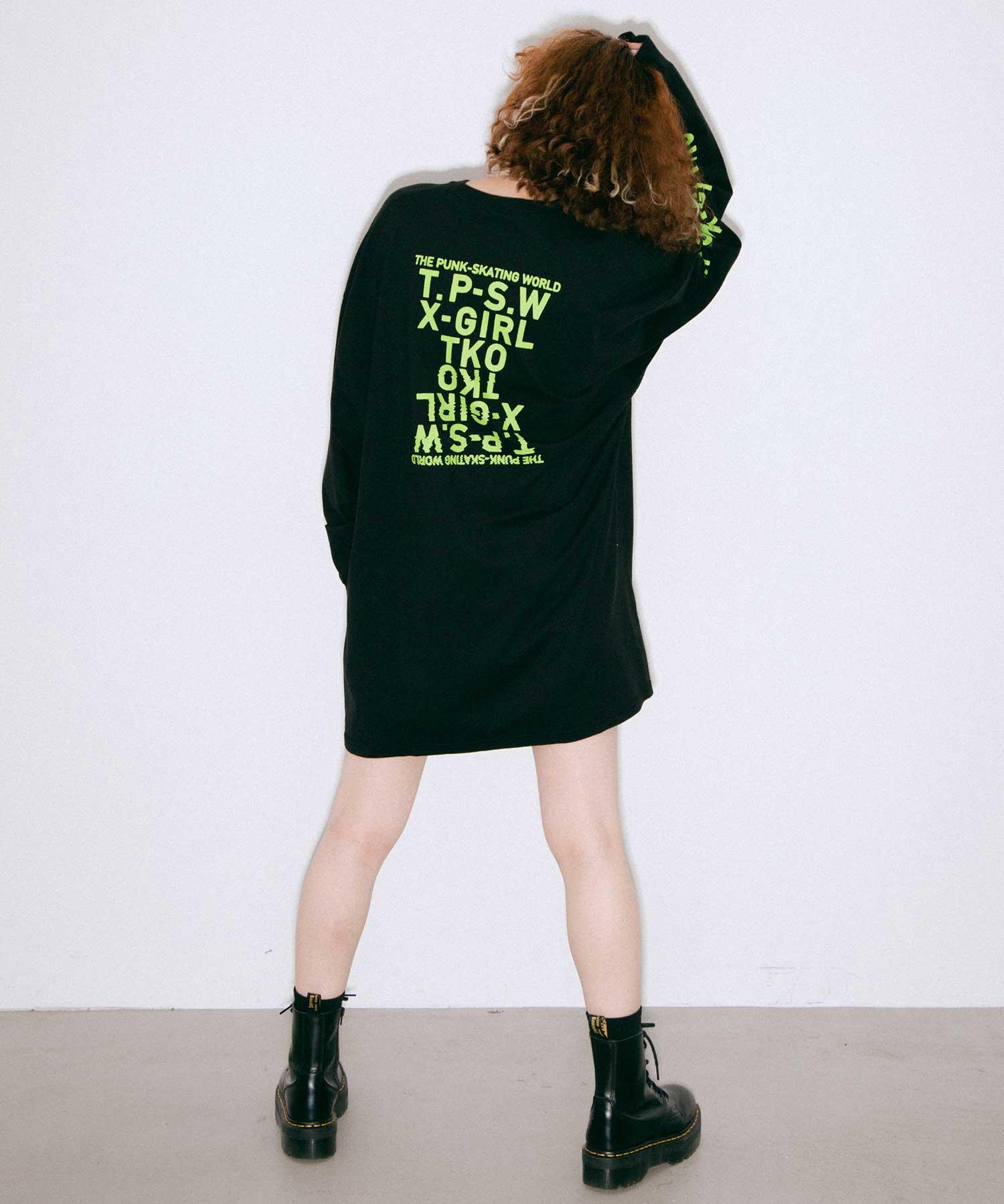 【公式】X-girlエックスガールT.P.S.WL/STEEDRESSワンピースカットワンピースTEEワンピワンピ刺繍ロゴロンTレディース