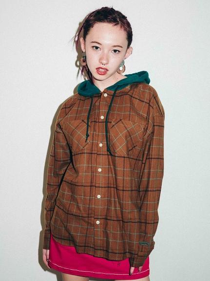 X-girl(エックスガール)HOODED PLAID SHIRT