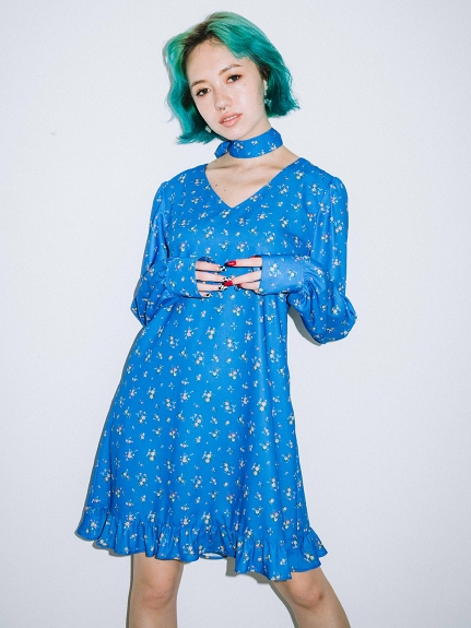X-girl(エックスガール)FLORAL MINI DRESS
