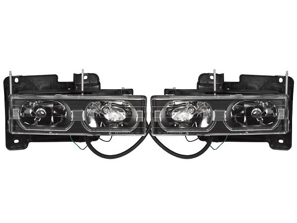 -99y C/K クリスタルヘッドライト(ブラック)/LEDバー (タホ、ユーコン、サバーバン、C-1500、K-1500、シエラ)