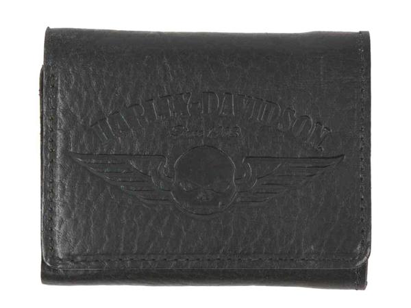 Harley-Davidson / ハーレーダビッドソン 三つ折り財布/ウォレット(スカルロゴ/ブラック)