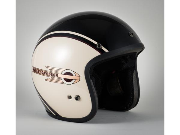 Harley-Davidson / ハーレーダビッドソン クラシックレトロタンク3/4ヘルメット(ブラック×ホワイト)(XL)