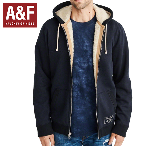 Abercrombie & Fitchアバクロンビーアンドフィッチ正規品メンズ ボアジップアップパーカー紺フーディジャケットMens Sherpa-Lined Full-Zip Jacket 122-232-0844-200インポートブランド海外買い付け正規[1218]