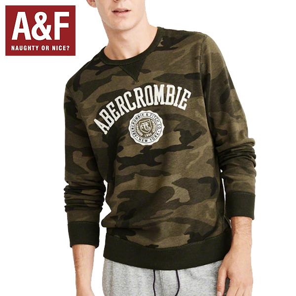 Abercrombie&Fitchアバクロンビーアンドフィッチ正規品メンズロゴアップリケスエットトシャツ トレーナー カモ柄Graphic Logo Sweatshirt迷彩Olive Green Camo 122-243-0065-336インポートブランド海外買い付け正規[0119]