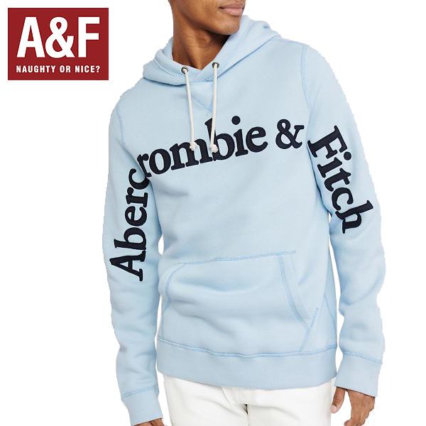 Abercrombie & Fitchアバクロンビーアンドフィッチ正規品メンズ プルオーバーパーカー ブルーGraphic Logo Hoodieデカロゴ刺繍122-243-0107-210並行輸入インポートブランド海外買い付け正規[0319]