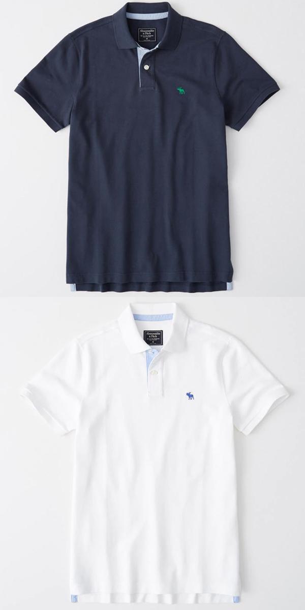 Abercrombie & Fitch アバクロンビーアンドフィッチ正規品メンズ ストレッチアイコン刺繍 半袖ポロシャツStretch Icon Polo 124-227-0762並行輸入インポートブランド海外買い付け正規[0419]