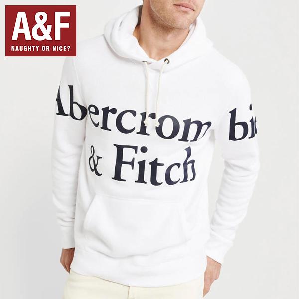 Abercrombie & Fitchアバクロンビーアンドフィッチ正規品メンズプルオーバーパーカーフード白ホワイト ビックロゴプリント122-231-0119-100並行輸入インポートブランド海外買い付け正規[0919]