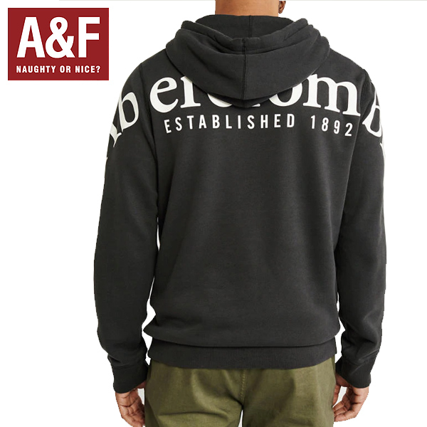 (アバクロ)Abercrombie & Fitchアバクロンビーアンドフィッチ正規品(メンズ) プルオーバーパーカー (ビックロゴ デカロゴプリン) トpullover parka logo HOODIE 黒ウォッシュドブラック122-231-0888-900並行輸入インポートブランド海外買い付け正規[1119]
