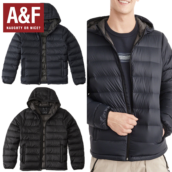 Abercrombie & Fitchアバクロンビーアンドフィッチ正規品メンズ ライトウェイトダウンLightweight Hooded Puffer (BLACK/NAVY) 132-328-1209-900インポートブランド海外買い付け[1217]