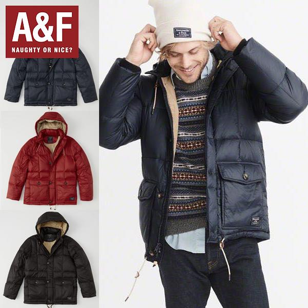 Abercrombie&Fitchアバクロンビーアンドフィッチ正規品メンズ フード付きダウンジャケットDown-Filled Puffer Coat(紺黒レッド)132-327-0407-200インポートブランド海外買い付け[1217]
