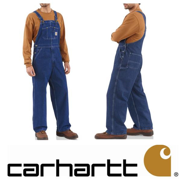 [再入荷]Carhartt 正規品R07DST Washed Denim Bib Overall カーハート ウォッシュドデニム オーバーオール ワークパンツ ボトムス USAモデルワークウェア 作業着 ヒップホップ バイカー