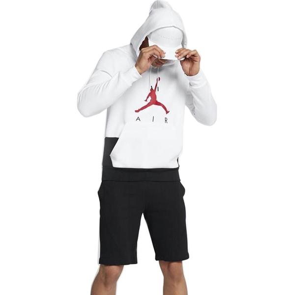 NIKEナイキ正規品 ジャンプマン Jumpman Air Fleece White/Black エアー プルオーバーパーカー フード白ホワイトトレーニングウェア インポートブランド海外買い付け[0918]