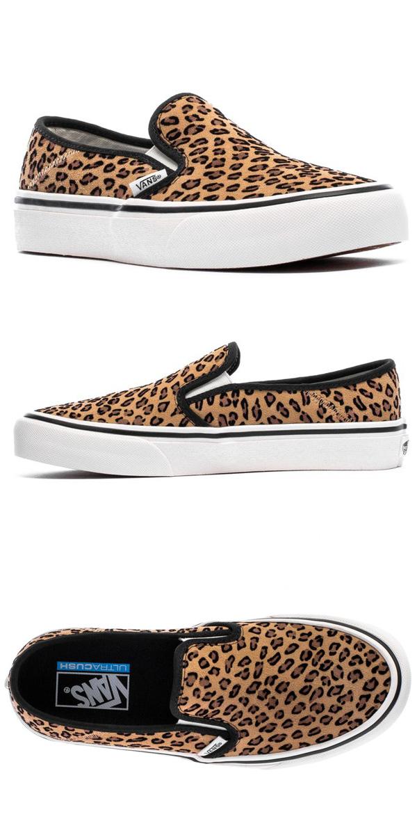 Station wagons regular article vans VANS slip ons SLIP ON SF スリップオンレオパード pattern leopard pattern low frequency cut Mini Leopard suede sneakers