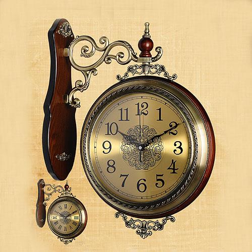 【値下げ・セール】【両面時計 アンティーク 回転 アイアン 壁掛け時計 ウォールクロック カフェ ガーデニング 音がしない 送料無料 レトロ連続秒針 360度回転