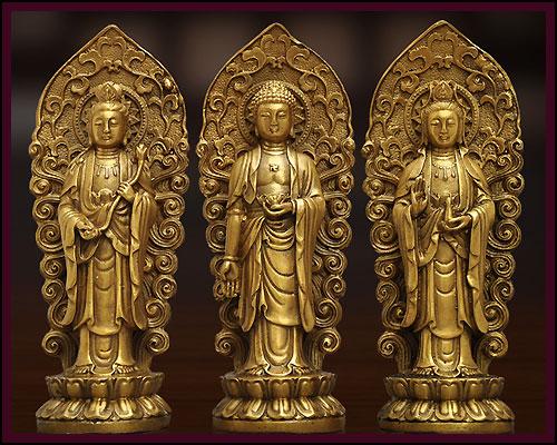 阿弥陀三尊 仏像 阿弥陀如来・観音菩薩・勢至菩薩 真鍮 3点セット