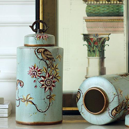 陶器 蓋付 壷 セラミック 飾り壺 ポッド 陶器置物 アンティーク 雑貨