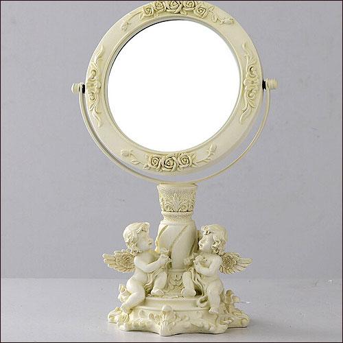 卓上ミラー 天使 卓上鏡 デスクミラー テーブルミラー 片面3倍 エンジェル 天使雑貨 ホワイト アンティーク風 レトロ インテリアミラーオブジェスタンドミラーコンパクトミラークラシックミラーアジアン雑貨デザインかわいいおしゃれ結婚祝い