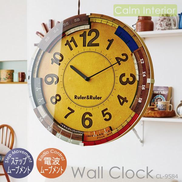 【壁掛けフック特典付】壁掛け時計 インターフォルム Ruler&Ruler/ルーラールーラー CL-9584 電波時計 ウォールクロック おしゃれ 北欧 レトロデザイン リビング用 書斎用 オフィス用