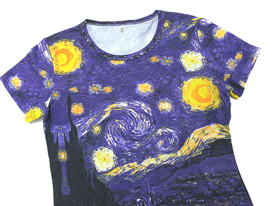 Cypress and village Vincent Fan Gogh starred largest, pattern ladies print t-shirts series
