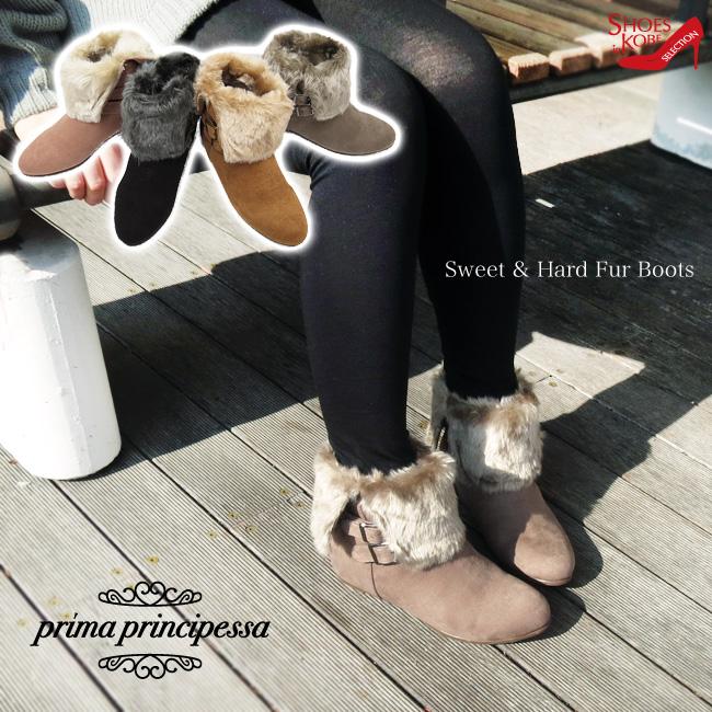 (セール価格・返品不可)【prima principessa(プリマプリンチペッサ)】2WAY ファー ブーツインヒール3cm ショートブーツ[ローヒール][FOO-SN-1262]H3.0(レディース ファーブーツ ヒール アンクルブーツ 歩きやすい靴 疲れにくい:532P17Sep16