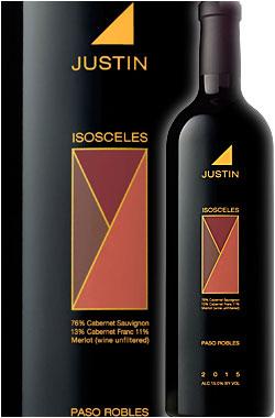 """《ジャスティン》 """"アイサセリーズ"""" (アイソセレス) パソロブレス [2015] (カベルネソーヴィニヨン) Justin Vineyard & Winery ISOSCELES Paso Robles Proprietary Red 750ml フルボディ赤ワイン カリフォルニアワイン ワイン専門店あとりえ ギフト プレゼントにも 高級"""