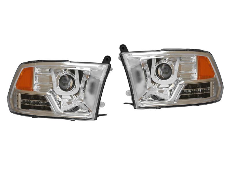 ダッジ ラムピックアップ ラムトラック プロジェクターヘッドライト クローム LEDバー アンバーリフレクター '09y~'15y【アメ車パーツ】